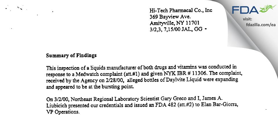 Hi-Tech Pharmacal, An AKORN Company FDA inspection 483 Mar 2000