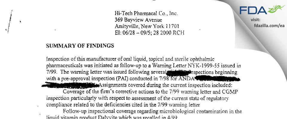 Hi-Tech Pharmacal, An AKORN Company FDA inspection 483 Sep 2000