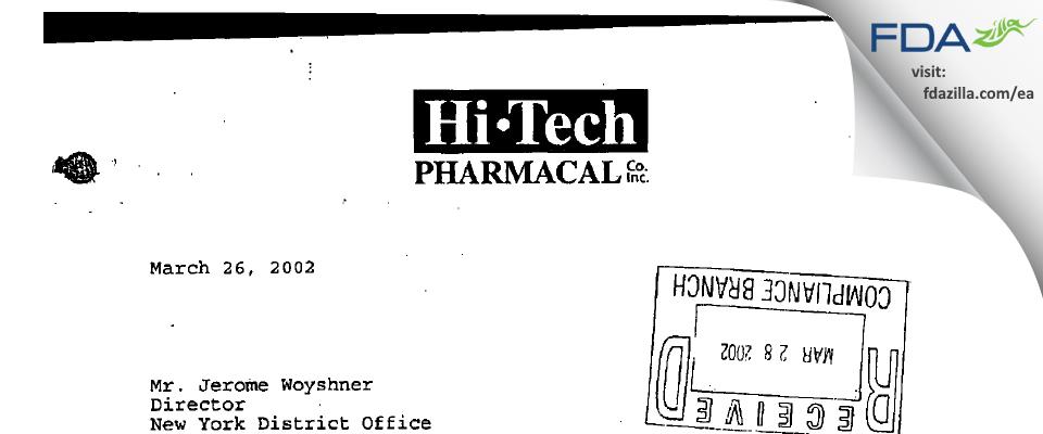 Hi-Tech Pharmacal, An AKORN Company FDA inspection 483 Mar 2002