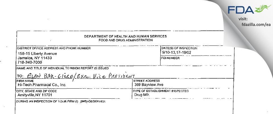 Hi-Tech Pharmacal, An AKORN Company FDA inspection 483 Sep 2002