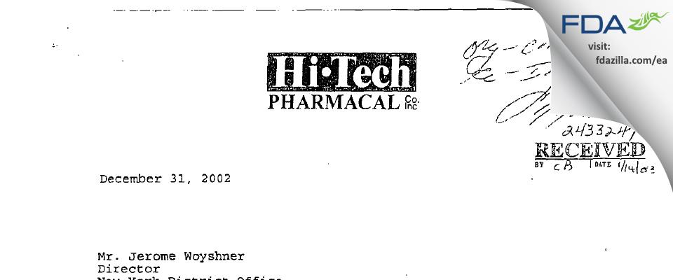 Hi-Tech Pharmacal, An AKORN Company FDA inspection 483 Dec 2002