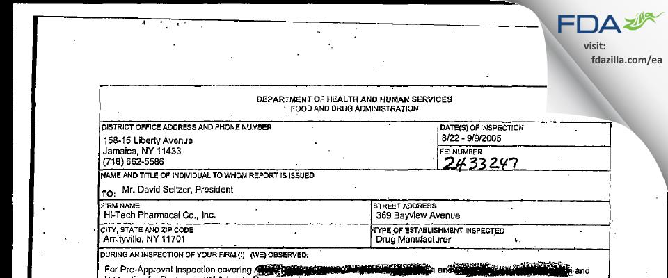 Hi-Tech Pharmacal, An AKORN Company FDA inspection 483 Sep 2005