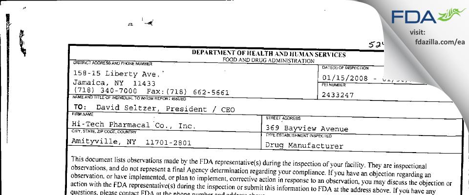 Hi-Tech Pharmacal, An AKORN Company FDA inspection 483 Jan 2008