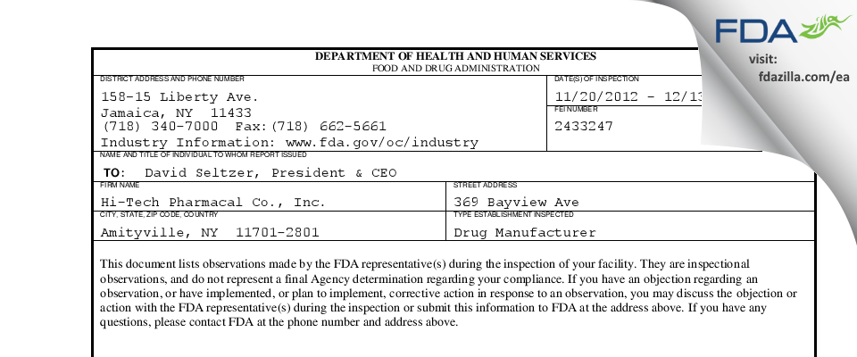 Hi-Tech Pharmacal, an AKORN Company FDA inspection 483 Dec 2012