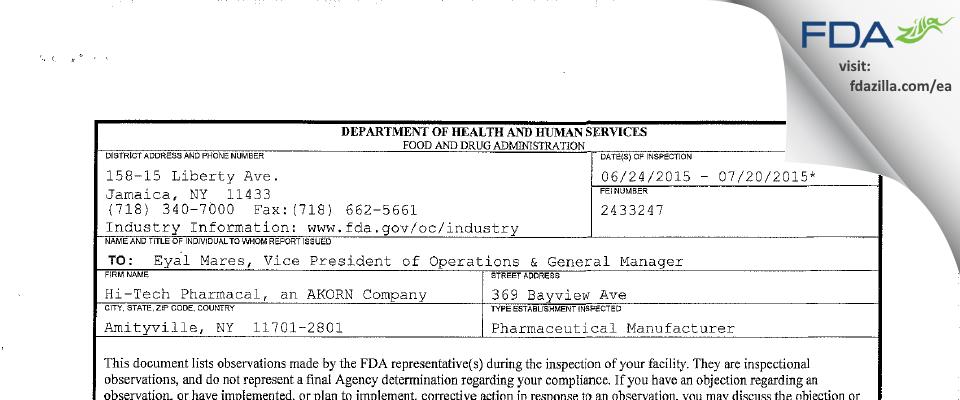 Hi-Tech Pharmacal, An AKORN Company FDA inspection 483 Jul 2015