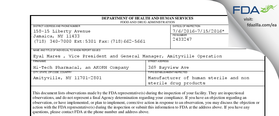 Hi-Tech Pharmacal, An AKORN Company FDA inspection 483 Jul 2016