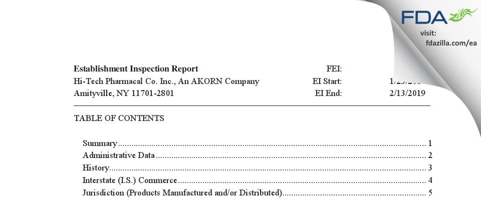 Hi-Tech Pharmacal, An AKORN Company FDA inspection 483 Feb 2019