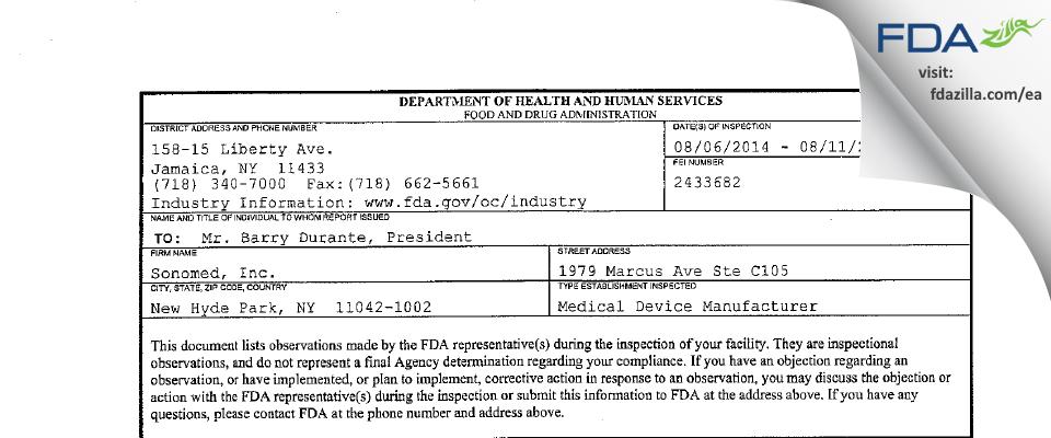 Sonomed FDA inspection 483 Aug 2014