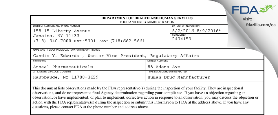 Amneal Pharmaceuticals of New York FDA inspection 483 Aug 2016