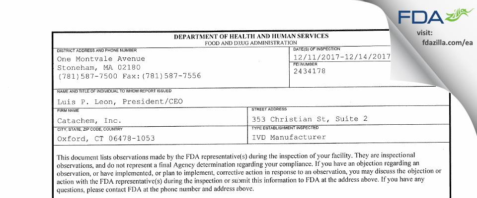 Catachem FDA inspection 483 Dec 2017