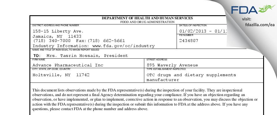 Advance Pharmaceutical FDA inspection 483 Jan 2013