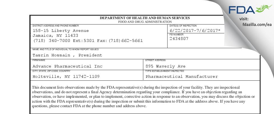 Advance Pharmaceutical FDA inspection 483 Jul 2017