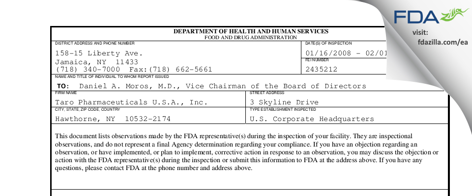 Taro Pharmaceuticals U.S.A. FDA inspection 483 Feb 2008