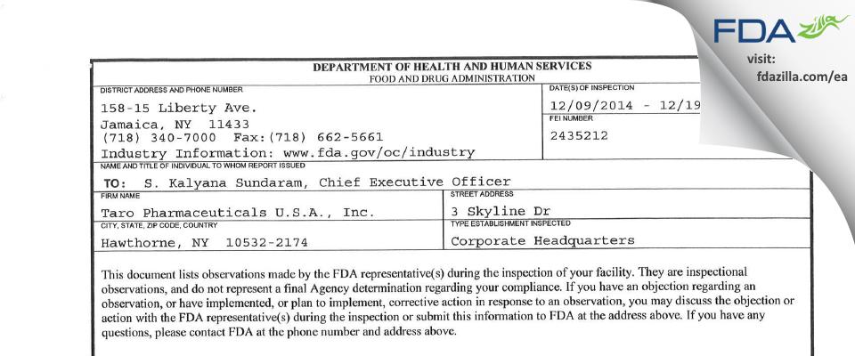 Taro Pharmaceuticals U.S.A. FDA inspection 483 Dec 2014