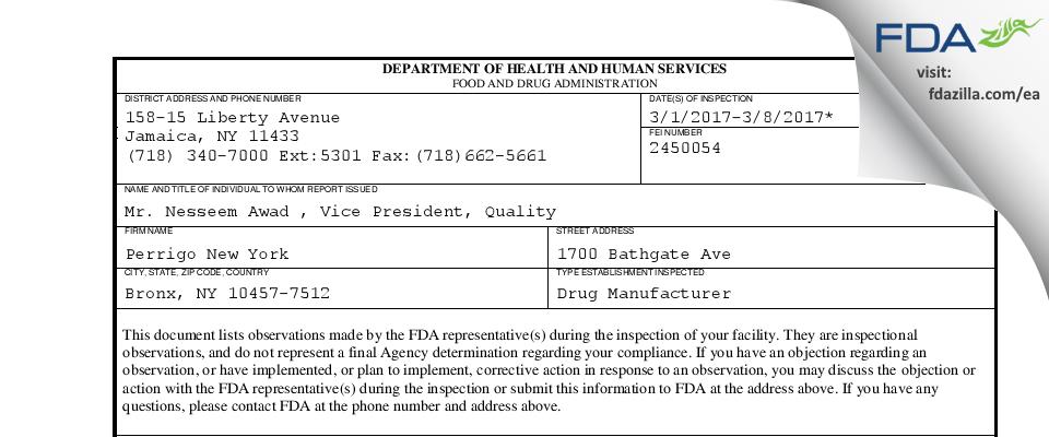 Perrigo New York FDA inspection 483 Mar 2017
