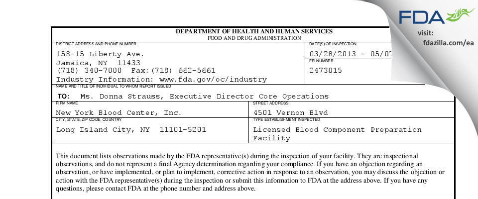 New York Blood Center FDA inspection 483 May 2013