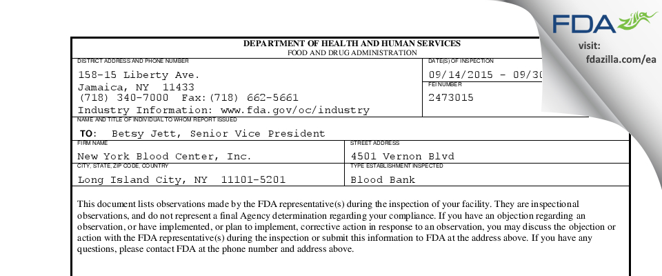 New York Blood Center FDA inspection 483 Sep 2015
