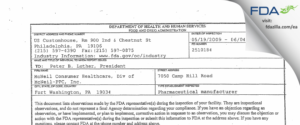 Johnson and Johnson Consumer, Div Of Mcneil FDA inspection 483 Jun 2009