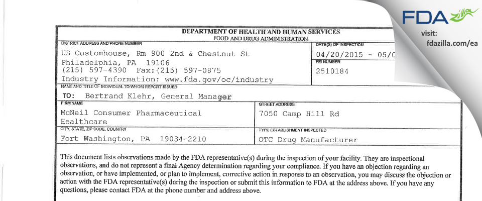 Johnson and Johnson Consumer, Div Of Mcneil FDA inspection 483 May 2015