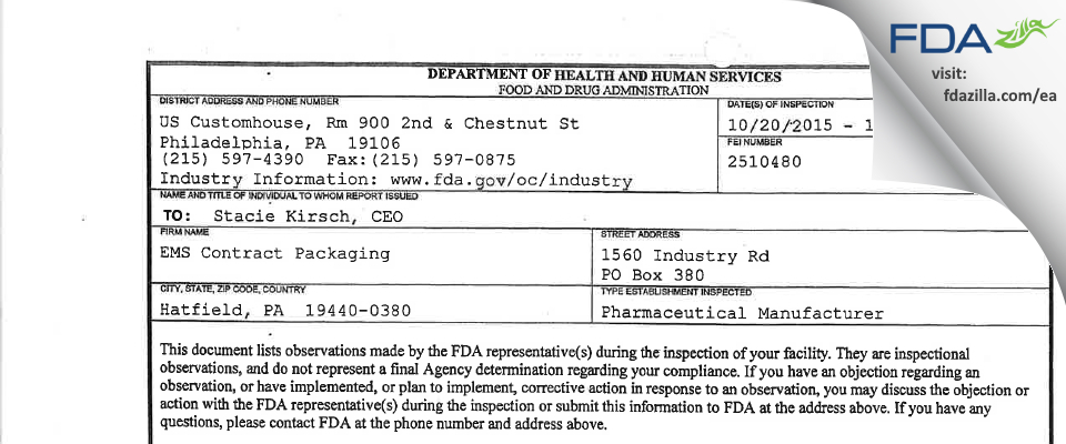 EMS Contract Packaging FDA inspection 483 Oct 2015