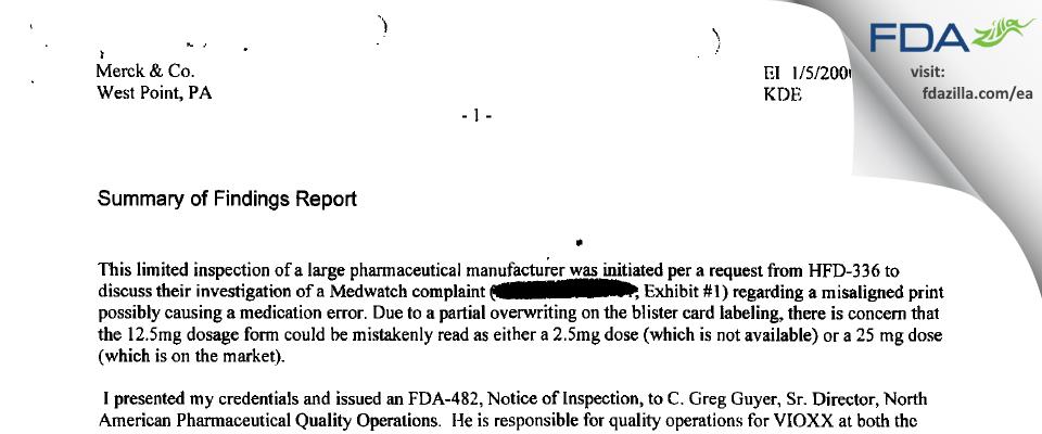 Merck Sharp & Dohme FDA inspection 483 Jan 2000