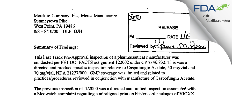 Merck Sharp & Dohme FDA inspection 483 Aug 2000