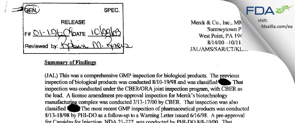 Merck Sharp & Dohme FDA inspection 483 Oct 2000