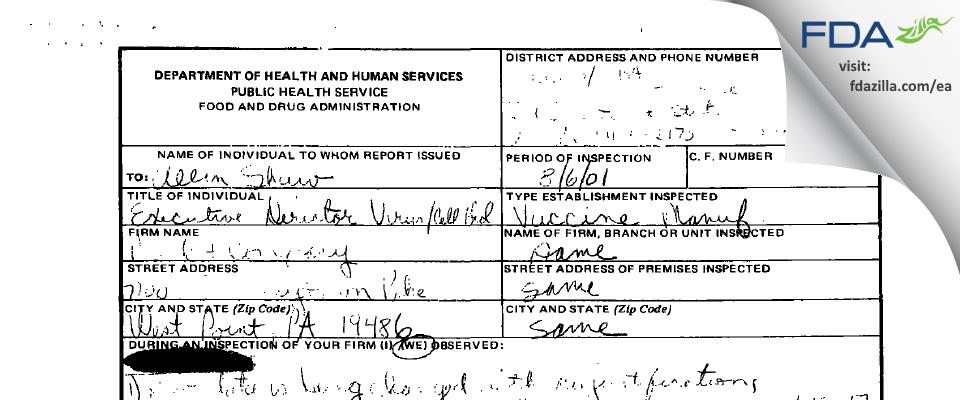 Merck Sharp & Dohme FDA inspection 483 Aug 2001