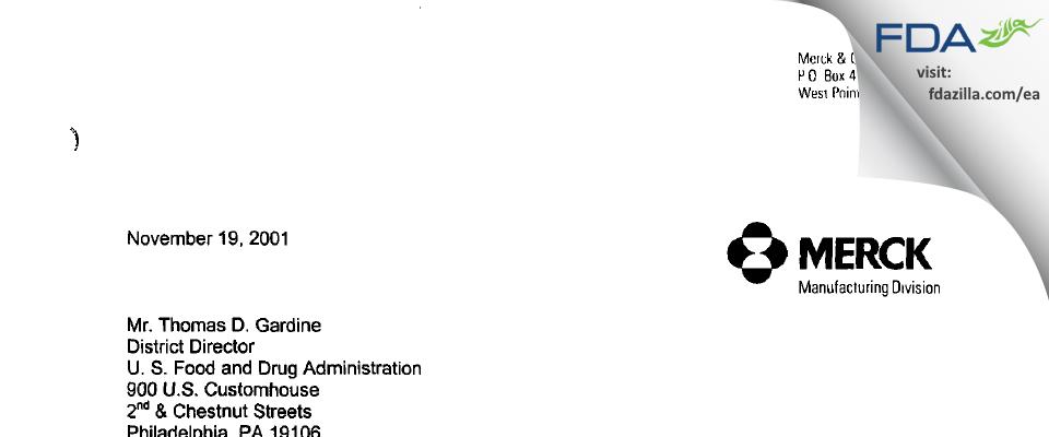 Merck Sharp & Dohme FDA inspection 483 Oct 2001