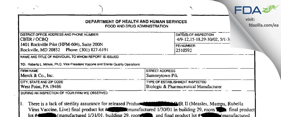 Merck Sharp & Dohme FDA inspection 483 May 2002