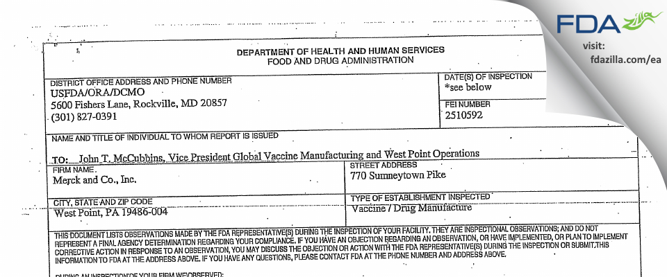 Merck Sharp & Dohme FDA inspection 483 Jan 2008