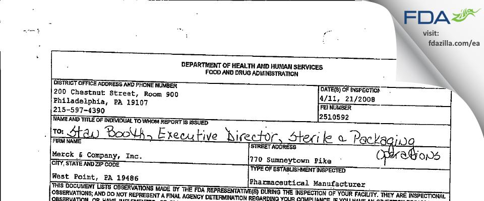 Merck Sharp & Dohme FDA inspection 483 Apr 2008