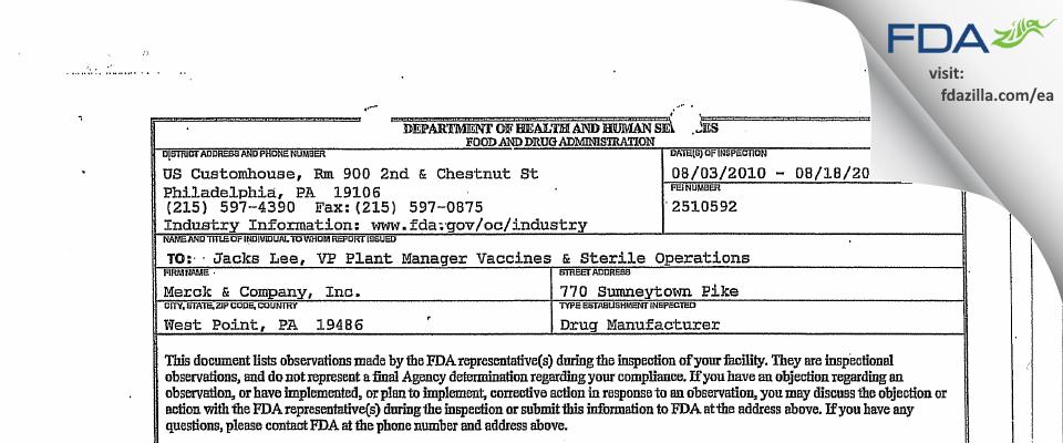 Merck Sharp & Dohme FDA inspection 483 Aug 2010