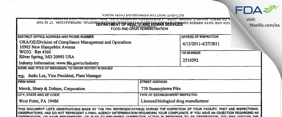 Merck Sharp & Dohme FDA inspection 483 Apr 2011