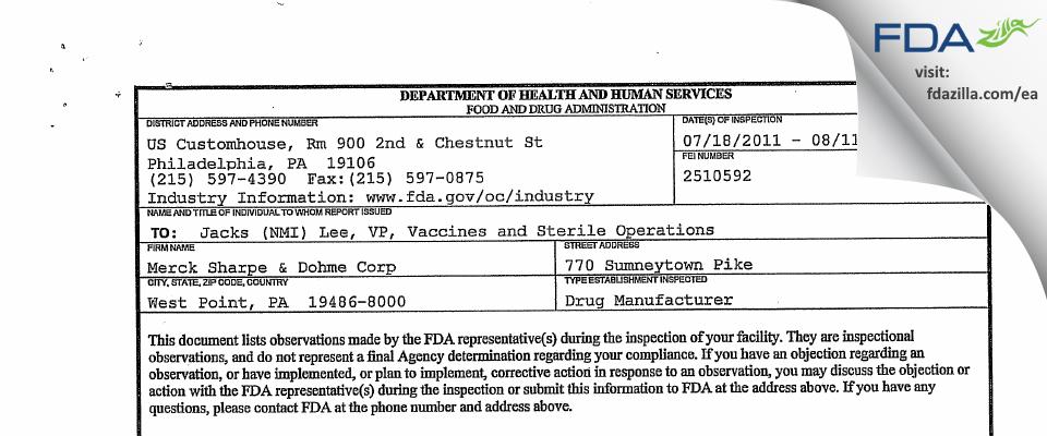 Merck Sharp & Dohme FDA inspection 483 Aug 2011
