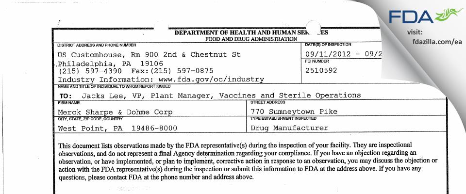 Merck Sharp & Dohme FDA inspection 483 Sep 2012