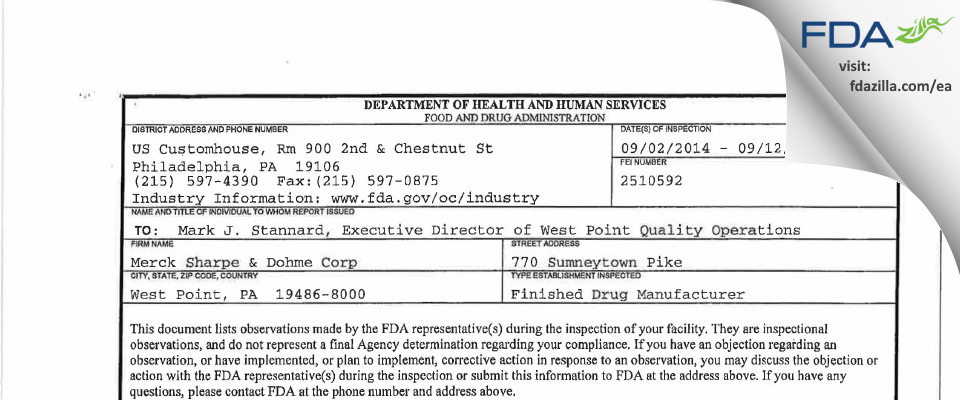 Merck Sharp & Dohme FDA inspection 483 Sep 2014