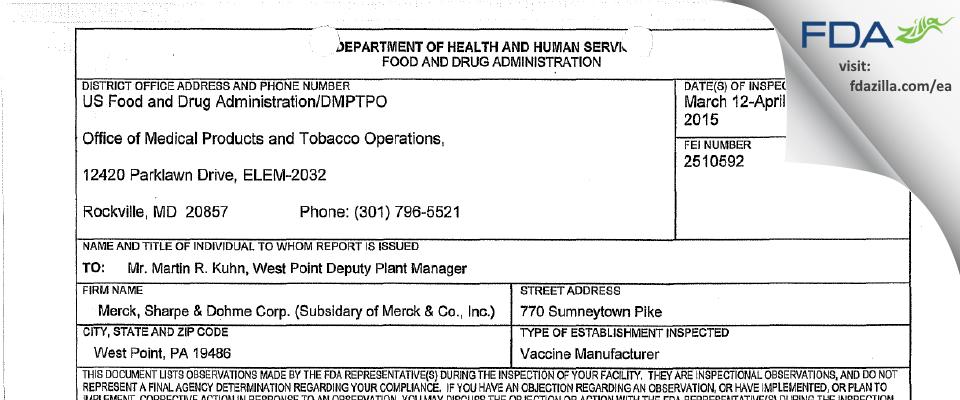 Merck Sharp & Dohme FDA inspection 483 Apr 2015