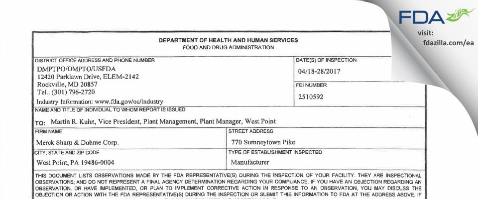 Merck Sharp & Dohme FDA inspection 483 Apr 2017