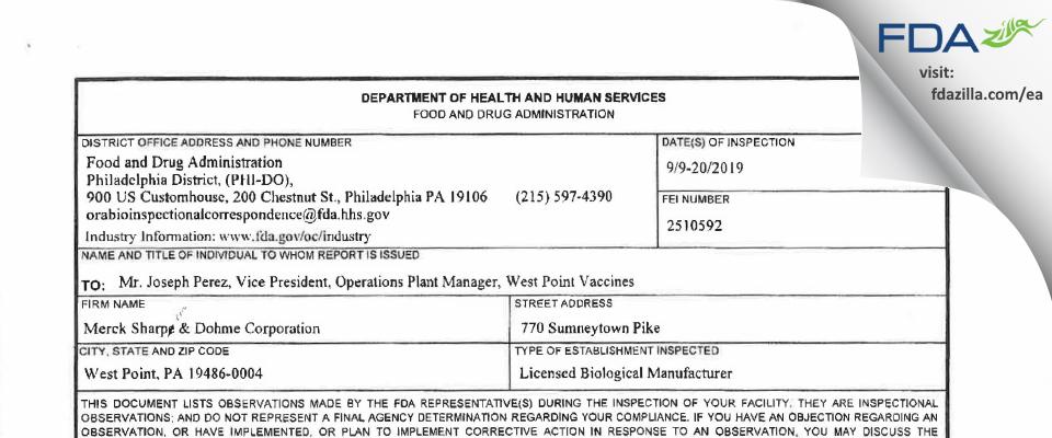 Merck Sharp & Dohme FDA inspection 483 Sep 2019