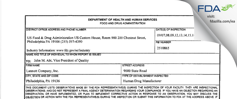 Lannett Company FDA inspection 483 Sep 2016