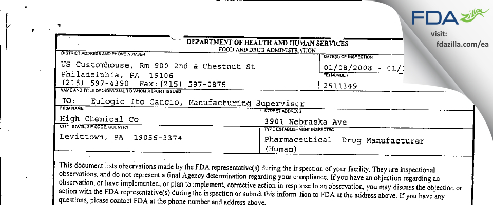 High Chemical Company, Div of National Generic Distributors FDA inspection 483 Jan 2008