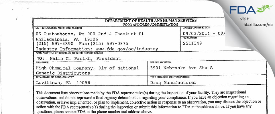 High Chemical Company, Div of National Generic Distributors FDA inspection 483 Sep 2014