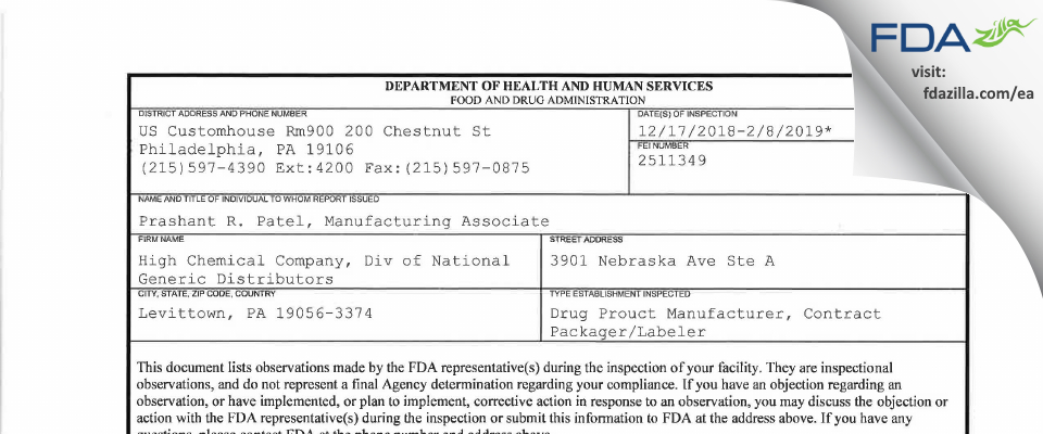 High Chemical Company, Div of National Generic Distributors FDA inspection 483 Feb 2019
