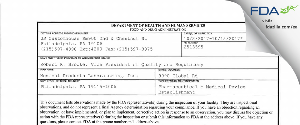 Medical Products Labs FDA inspection 483 Oct 2017