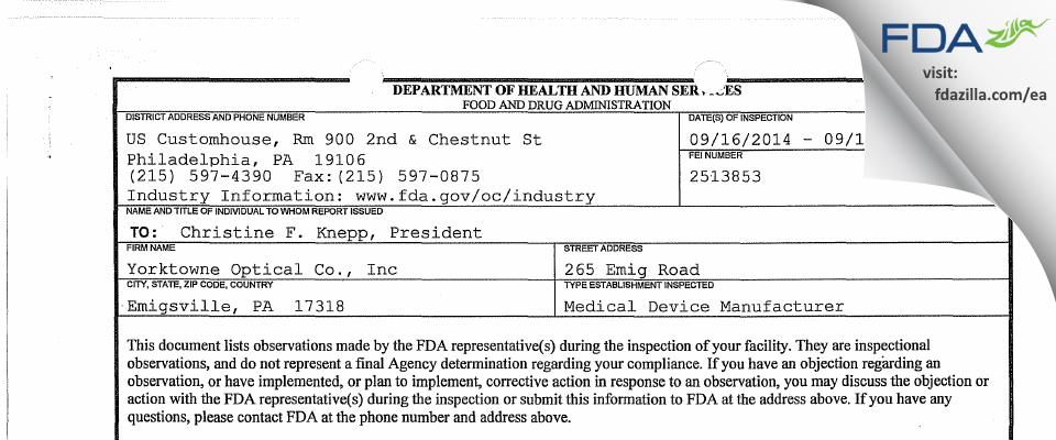 Yorktowne Optical Co FDA inspection 483 Sep 2014