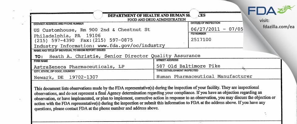 AstraZeneca Pharmaceuticals, LP FDA inspection 483 Jul 2011