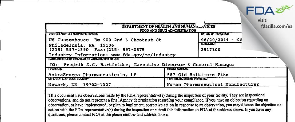 AstraZeneca Pharmaceuticals, LP FDA inspection 483 Aug 2014
