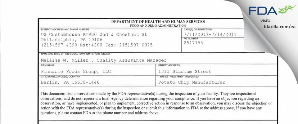 Pinnacle Foods FDA inspection 483 Jul 2017