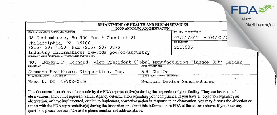 Siemens Healthcare Diagnostics FDA inspection 483 Apr 2014
